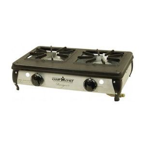 A two-burner camping stove for a road trip packing list