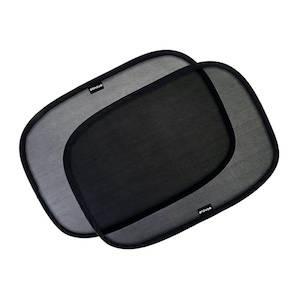 Two black window shades