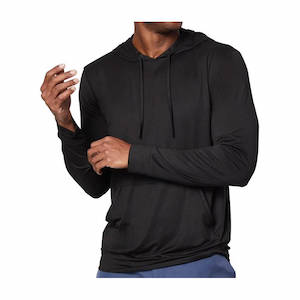 Black lightweight hiking and backpacking hoodie