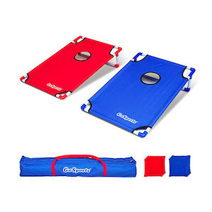 Red and blue corn hole game