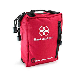 A red first-aid kit