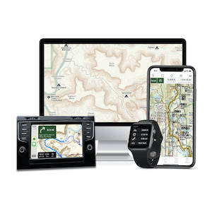 Phone, tablet, and computer all with topographic maps loaded on-screen