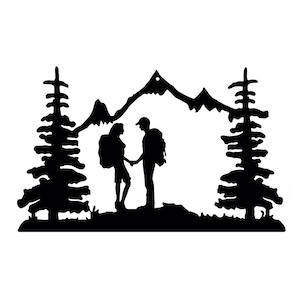 Black outlined ornament of a couple hiking in the backcountry