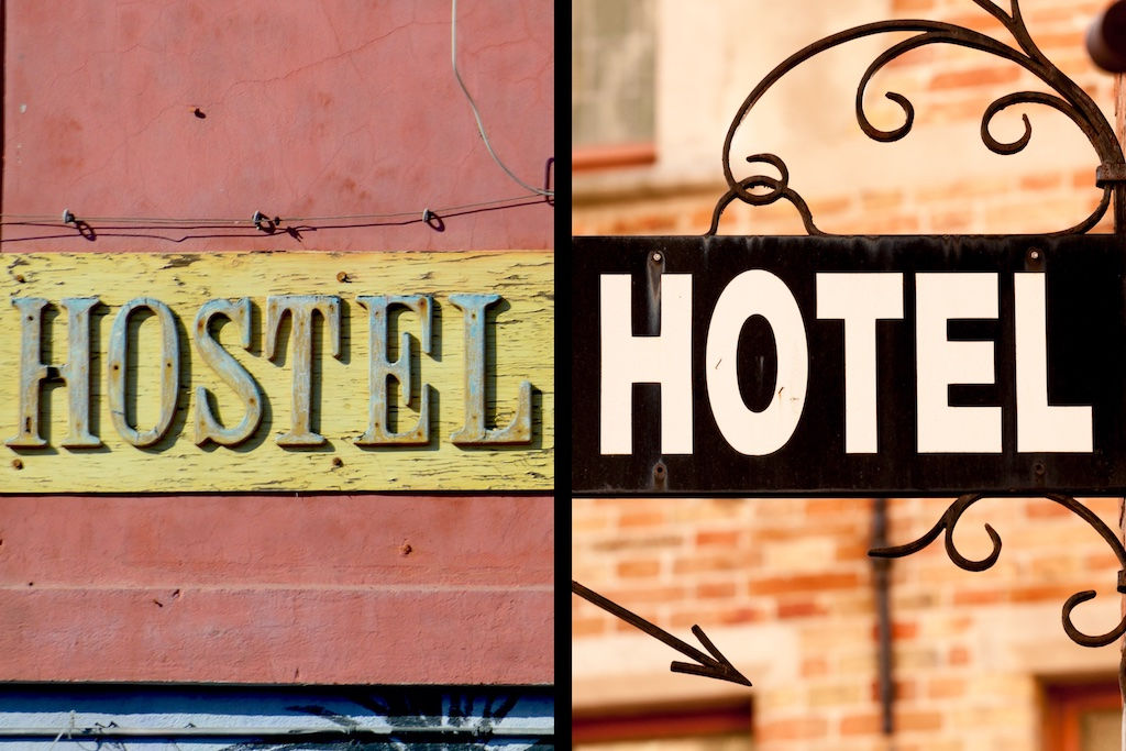 Hostel sign and hotel sign split screen