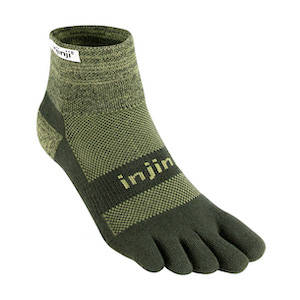 Brown hiking sock with individual toe slots