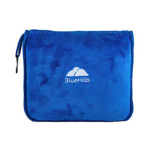 A blue microfleece blanket