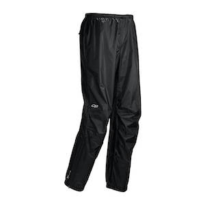 Black rain pants for hiking and backpacking