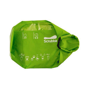 A green Scrubba laundry bag