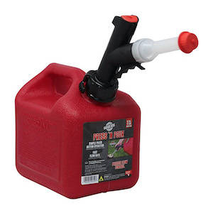 A red gas canister, an essential safety item for long car rides