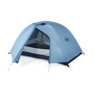 A blue REI two person tent