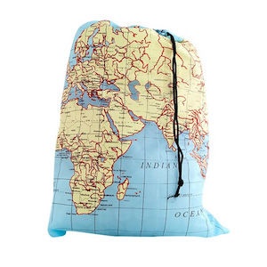 A laundry bag with a world map on it