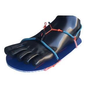 Ultralight camp shoe worn on a mannequin foot