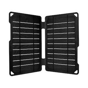 Black foldable USB solar panel for hiking and backpacking