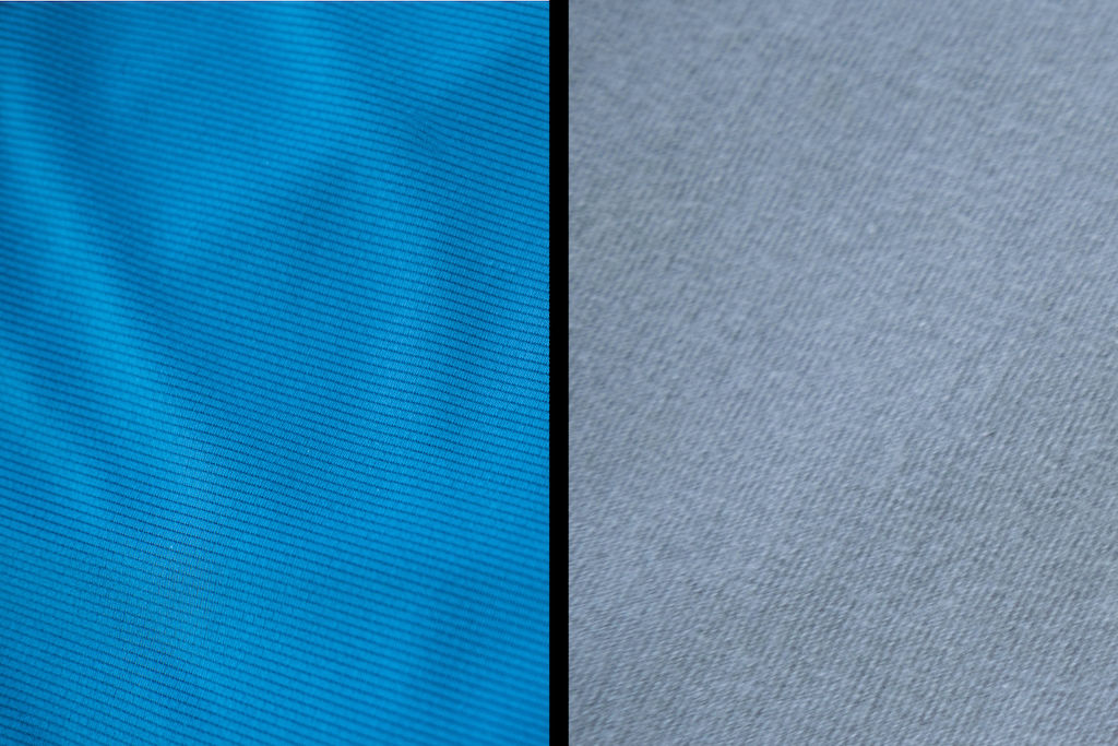 Split screen of blue polyester vs grey cotton material
