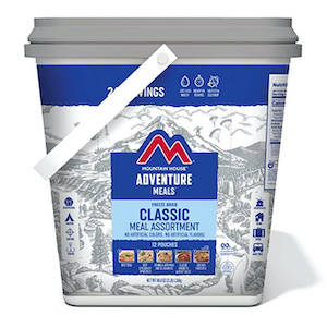 Mountain House brand bucket of freeze dried food