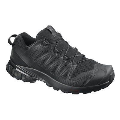 Black trail running shoe