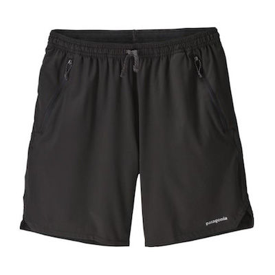 Black hiking, backpacking, and trail running shorts with zippered pockets